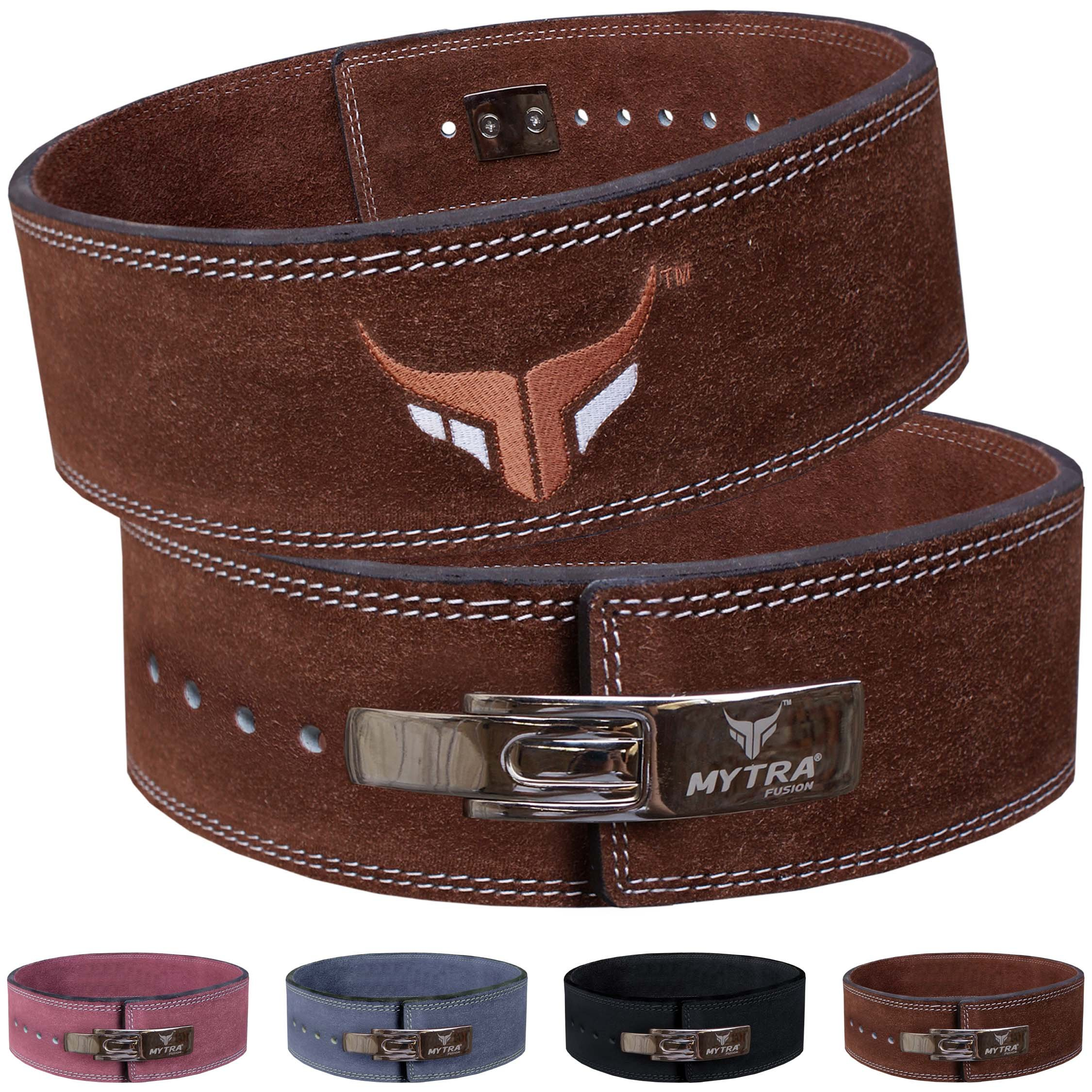 Mytra Fusion Leather Weight Lifting Power Lifting Back Support Belt Weight Lifting Belt Men Weight Lifting Belt Women Weightlifting Belt (Small, Brown)