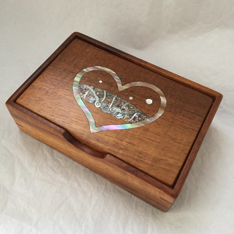 Heart Wave Inlay Koa Jewelry Box