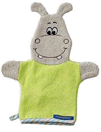 Waschhandschuh Waschlappen f/ür Kinder und Babys mit Tiermotiven Farbe:Gr/ün