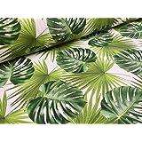 Tessuto in cotone per tende, tappezzeria, motivo: foglie di palmaverdi,140cm di larghezza, al metro