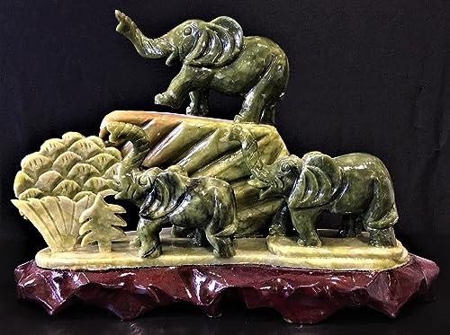 China Fine Craft Jade 3 Elephants Mountain J150