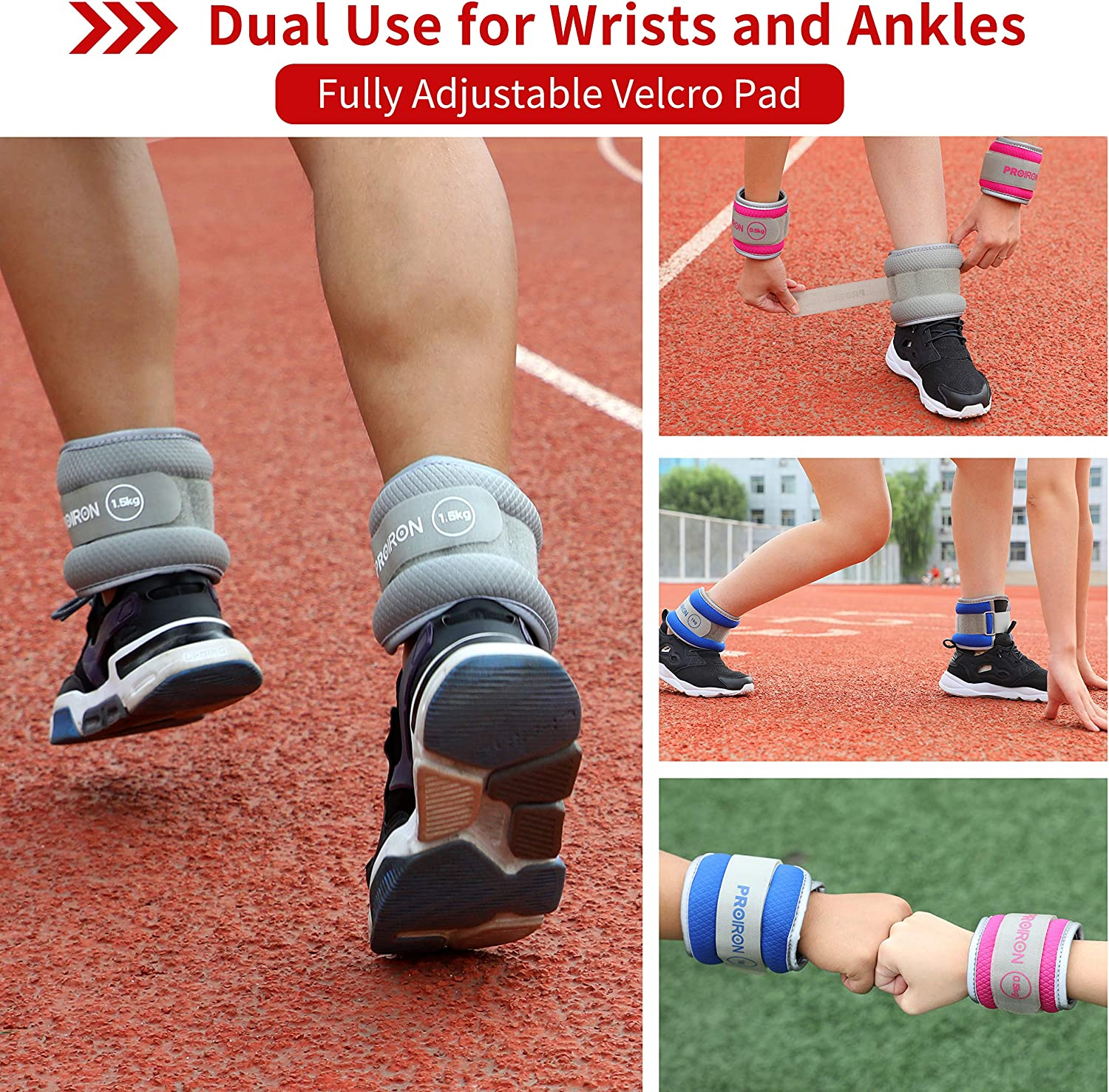 PROIRON Ankle Weights Wrist Leg Weights for Women Men 0.5kg-2kg in Pair Reflective Ankle Weight Set for Fitness Exercise Jogging Aerobics