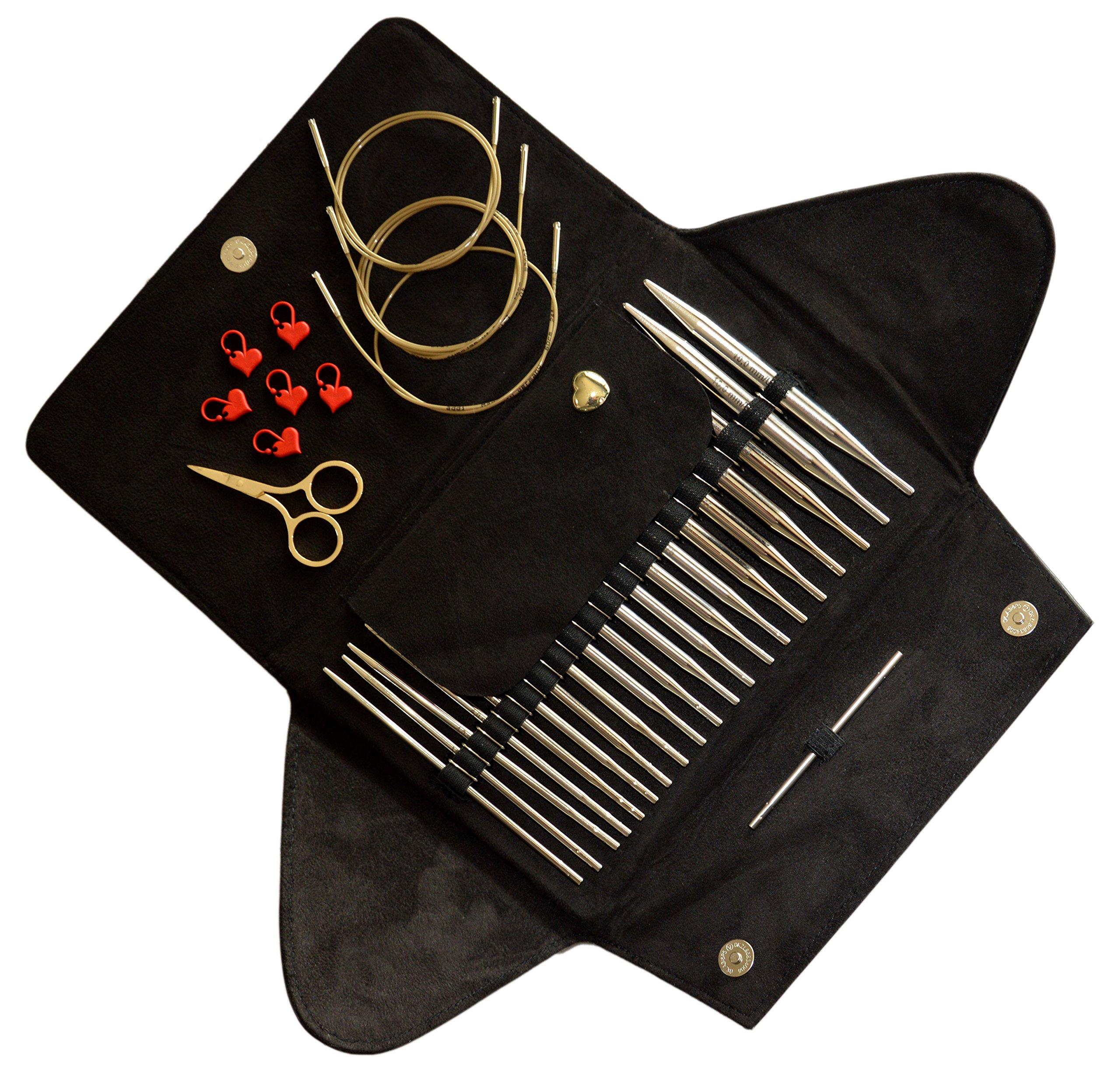 addi Click BASIC GOLD Edition - Interchangeable Needle Set - Included addi Gold Scissors, addi Gold Cords, addi Love Stitch Marker and addiGrip Pads