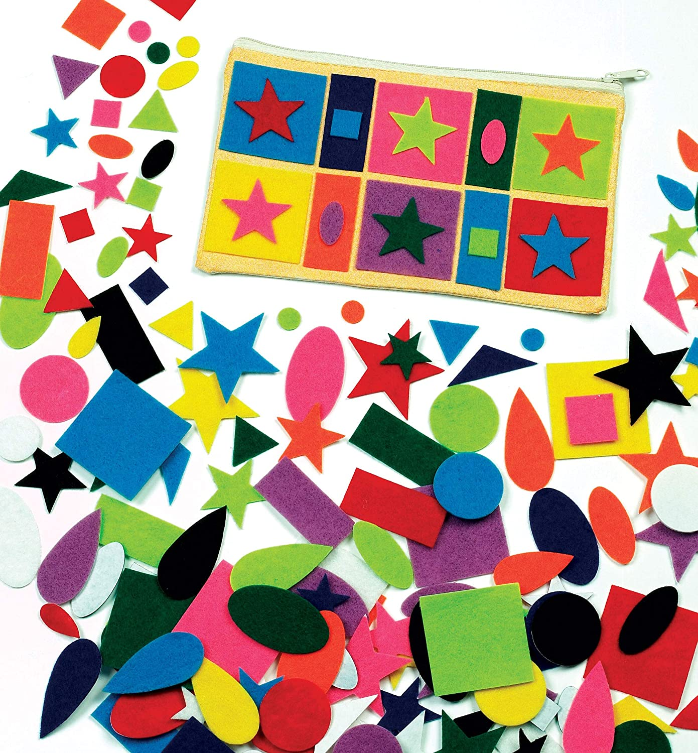 Baker Ross EK310 Self Adhesive Felt Shapes - Pack of 195, Perfect for Children to Decorate Collages and Crafts, Ideal for Schools, Craft Groups, Party & Home Crafting