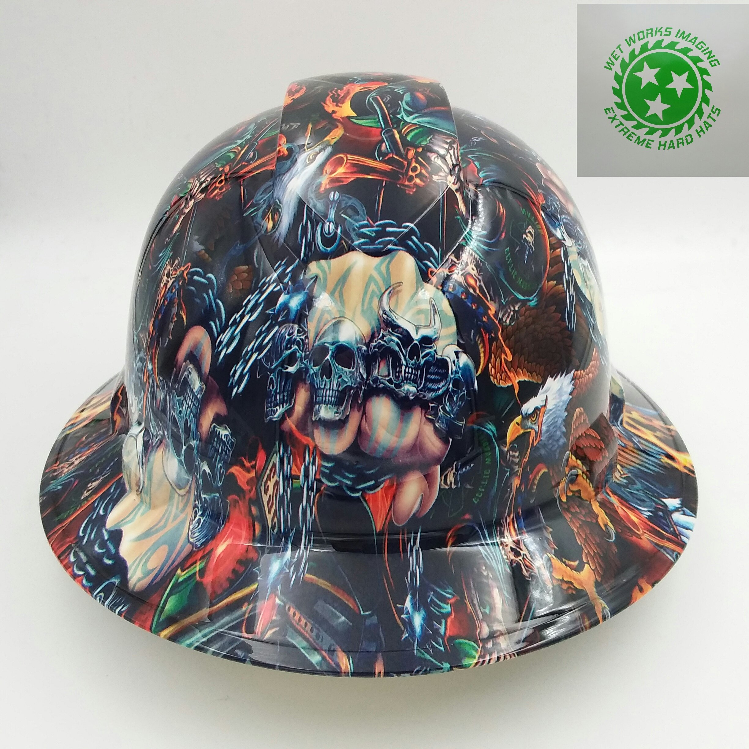 Wet Works Imaging Customized Pyramex Full Brim Full Color Way Of The Fist Hard Hat With Ratcheting Suspension