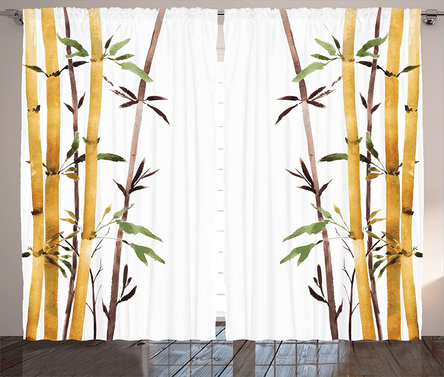 """Ambesonne Bamboo Curtains, Bamboo Grove Calm Your Mind Slow Down Relax Hand Drawn Style Artwork, Living Room Bedroom Window Drapes 2 Panel Set, 108"""" X 84"""", Blue"""