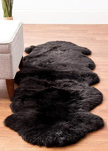 Super Area Rugs Genuine Sheepskin Rug 2×6 Soft Natural Bedside Area Rug