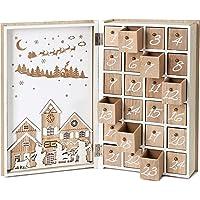 BRUBAKER Reusable Wooden Advent Calendar to Fill - Merry Christmas Book - DIY Christmas Calendar 7.72 x 2.95 x 11.81…