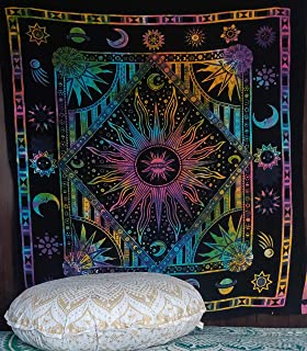 , Orange Celestial Sun Moon Planet Bohemian Tapestry Tapestry Tapestry Wall Hanging Boho Tapestry Hippie Hippy Tapestry Beach Coverlet Twin 54 X 84 inches approx Twin Orange Burning Sun Tapestry Jaipur Handloom sm-orange-rec-sun