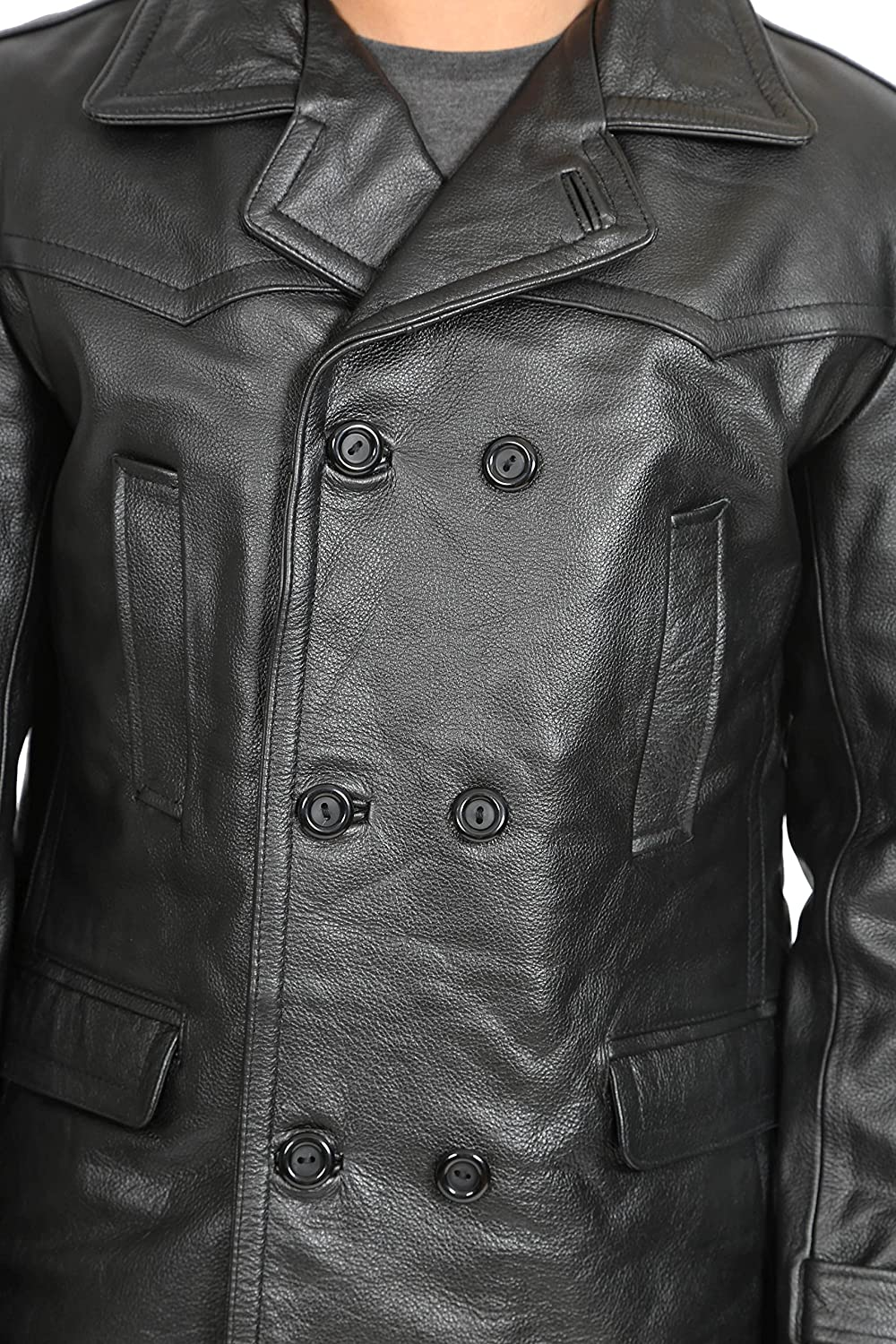 A1 FASHION GOODS Mens Double Breasted Trench Black Leather Jacket Fitted Military Coat Ernest
