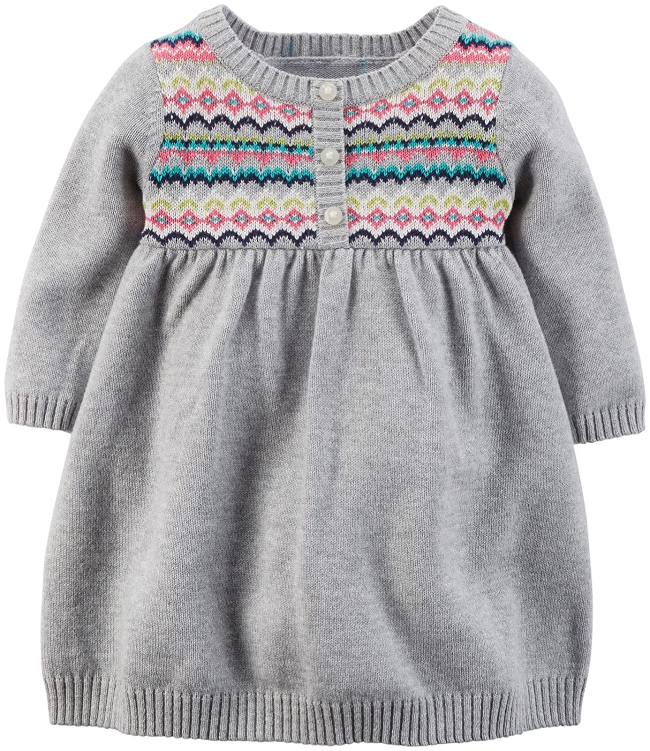 Amazon.com: Carter's Baby Girls' Fairisle Dress (Baby) - Heather ...