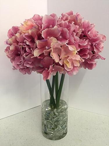Amazon Fuchsia Pink Hydrangeas In A Tall Glass Vase Handmade