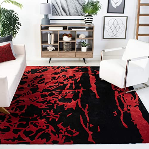 Safavieh Soho Collection SOH326B Handmade Black and Red Premium Wool Square Area Rug 8 Square