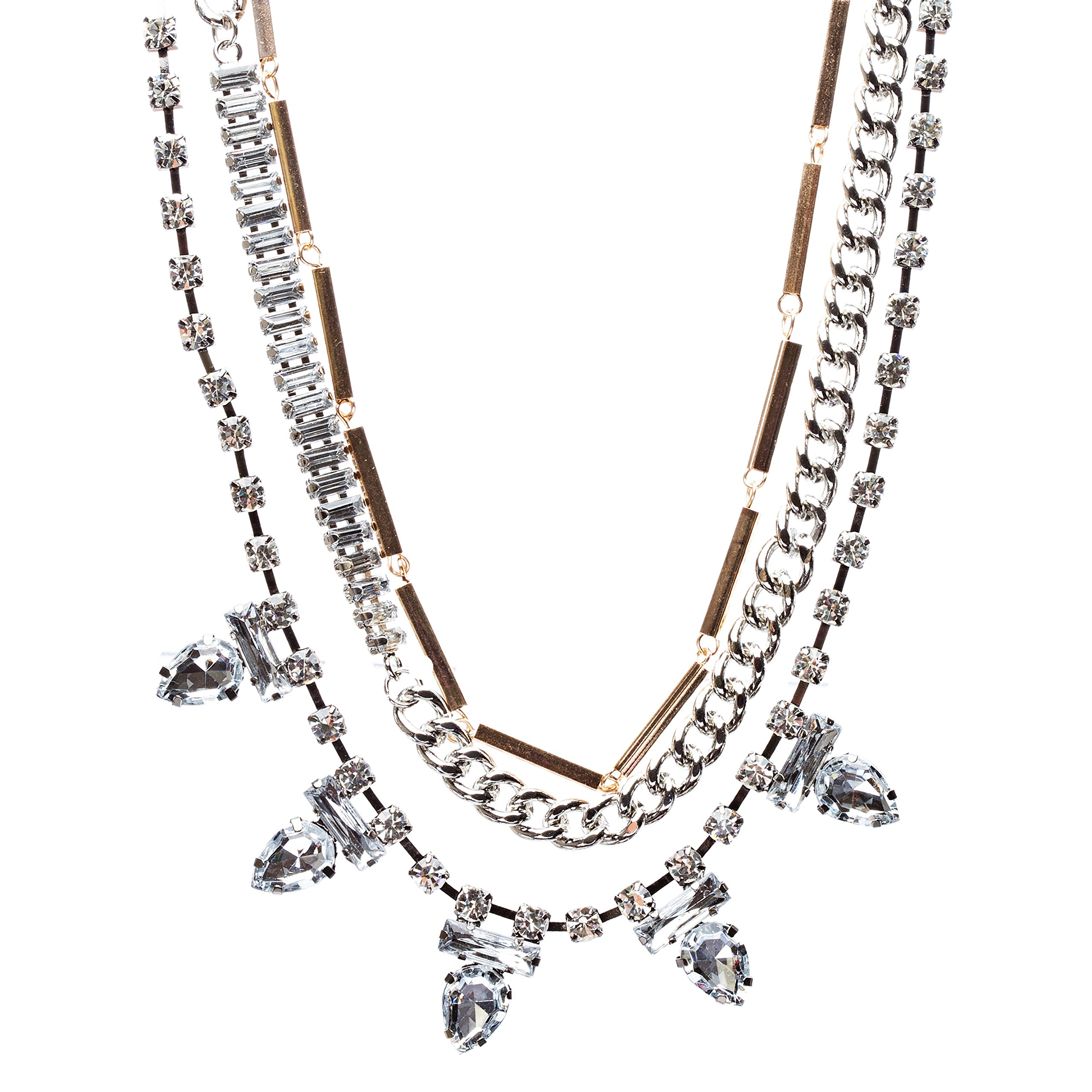 Fascinating Style Crystal Rhinestone Multi Layer Tear Drop Necklace N78 Siver