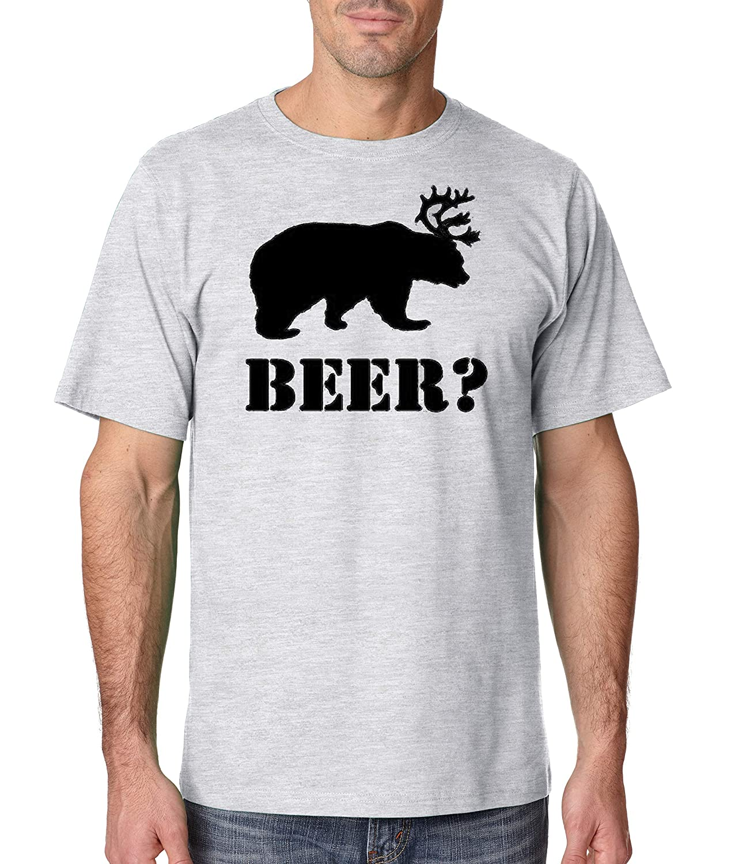 Bear Plus Deer Equals Beer Military Green Adult T-Shirt