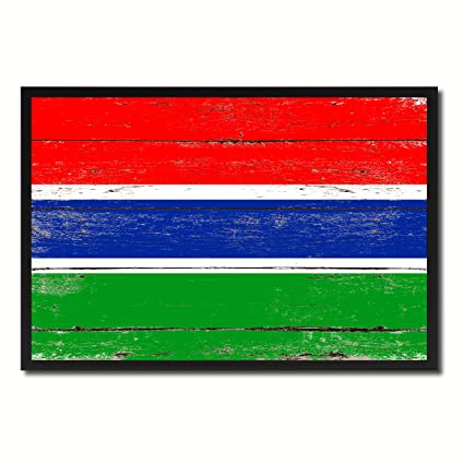 Amazon Gambia National Country Flag Shabby Chic Canvas Print