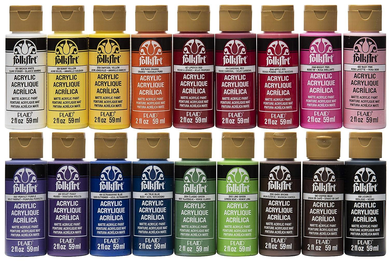 Folkart Acrylic Paint Set 2 Ounce Promofai Colors I 18 Colors
