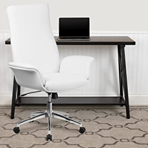 Flash Furniture High Back White LeatherSoft Executive Swivel Office Chair with Flared Arms