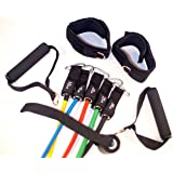 Surge Forward 11pc Resistance Band Set - (LIMITED TIME OVER 50% OFF) with Door Anchor, Handles, Ankle Straps - Stackable Up To 100lbs - For Resistance Training, Physical Therapy, Home Workouts