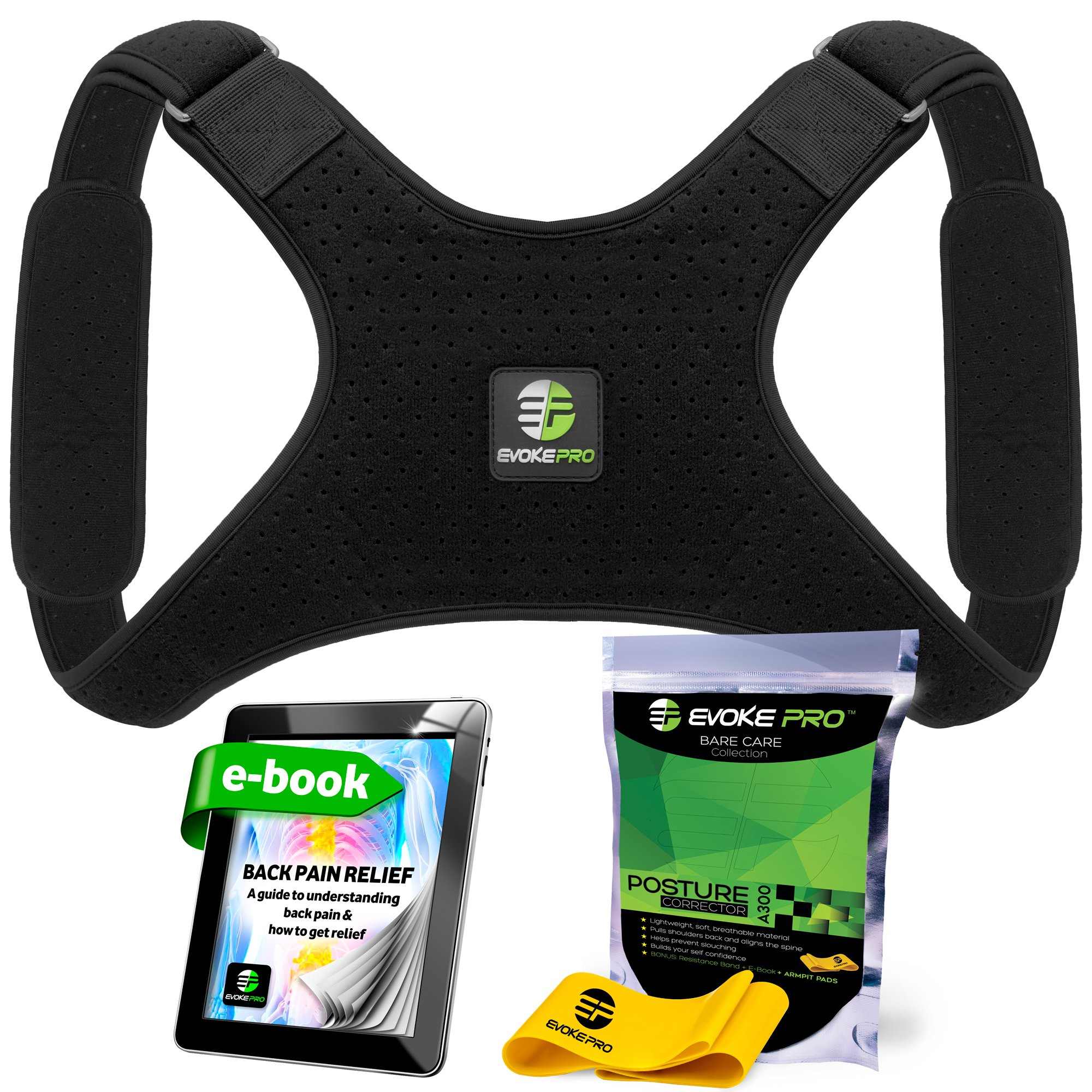Back Posture Corrector for Women and Men + Resistance Band by Evoke Pro - Trains Your Back Muscles to Prevent Slouching and Provides Back Pain Relief … (X-Large + Armpit Pads)