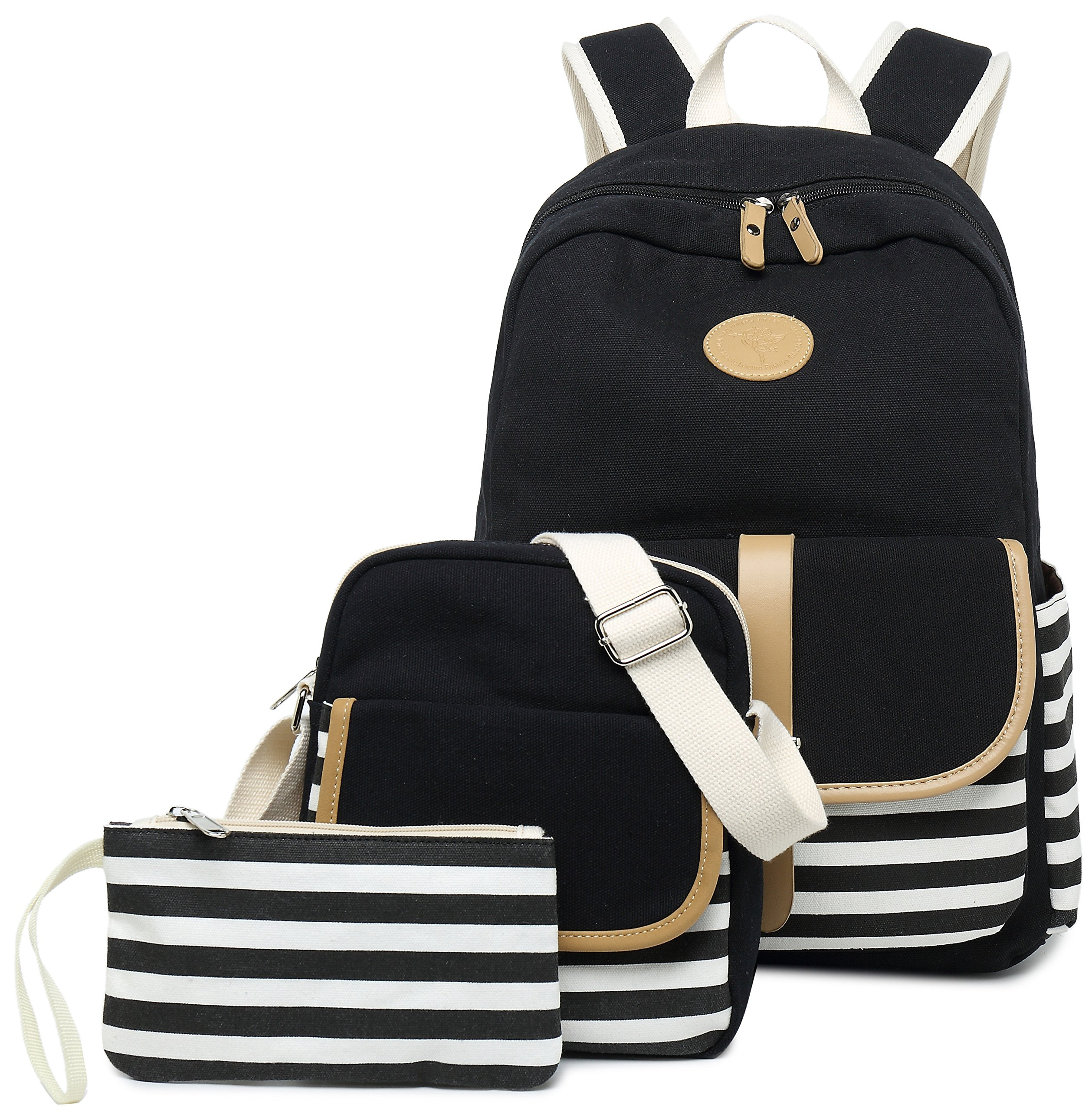 School Backpack for Girls, Gazigo Womens High School College Bookbags Laptop Bag (Black) by Gazigo (Image #2)