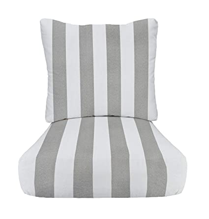 Marvelous Rsh Decor Indoor Outdoor Stripe Cushion Sets For Patio Deep Seating For Chair Sofa Couch In Grey Gray White Choice Of Size 24 X 27 Download Free Architecture Designs Xoliawazosbritishbridgeorg