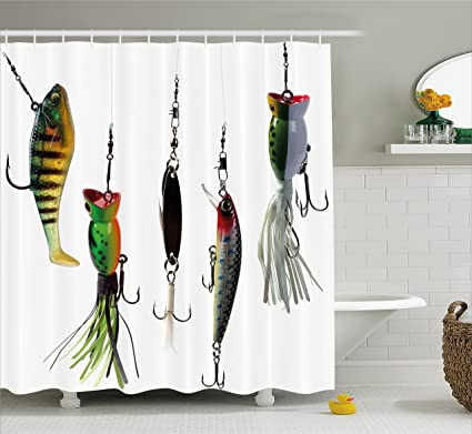 Ambesonne Fishing Decor Shower Curtain Various Type Of Baits Hobby Leisure Sports Hooks Catch