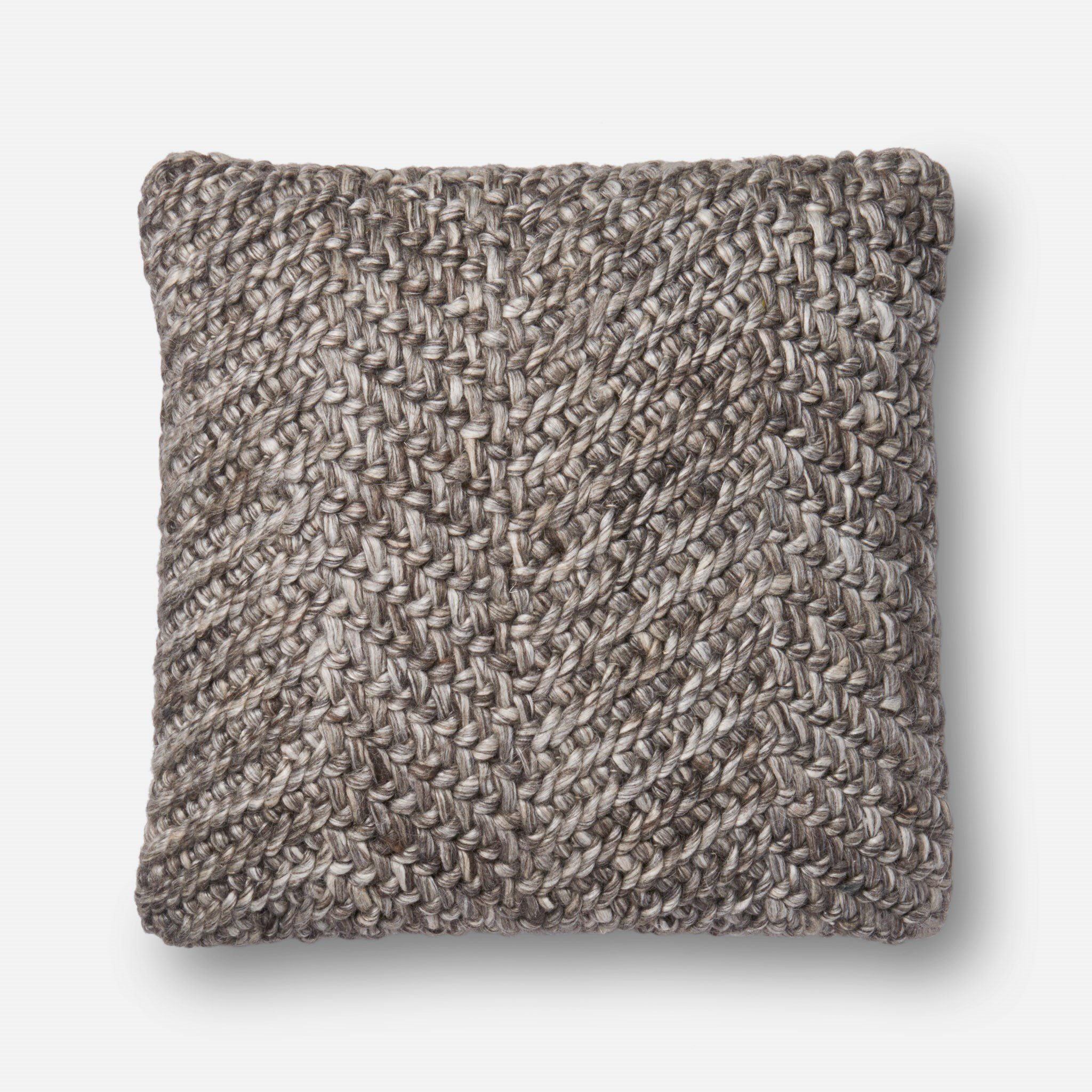 Loloi Pillow, Down Filled - Grey Pillow Cover, 22'' x 22'' by Loloi