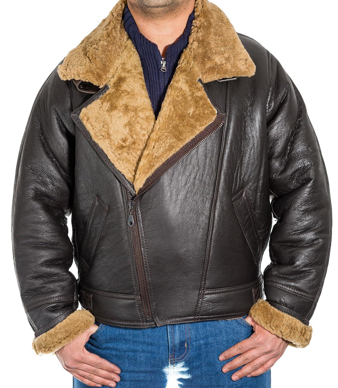 3e07f9fa93a Mens Brown Sheepskin Cross Zip American Bomber Pilot Jacket with Ginger Fur   Amazon.co.uk  Clothing