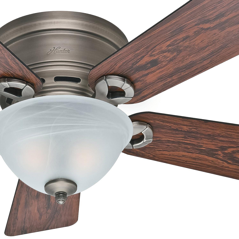 Hunter Fan 42in Low Profile Ceiling Fan in Antique Pewter with Light Kit, 5 Blade Renewed