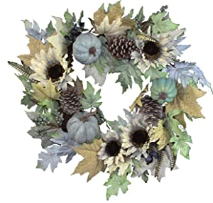 Admired By Nature 24 Inch Sunflower, Pumpkin Wreath, Rustic White