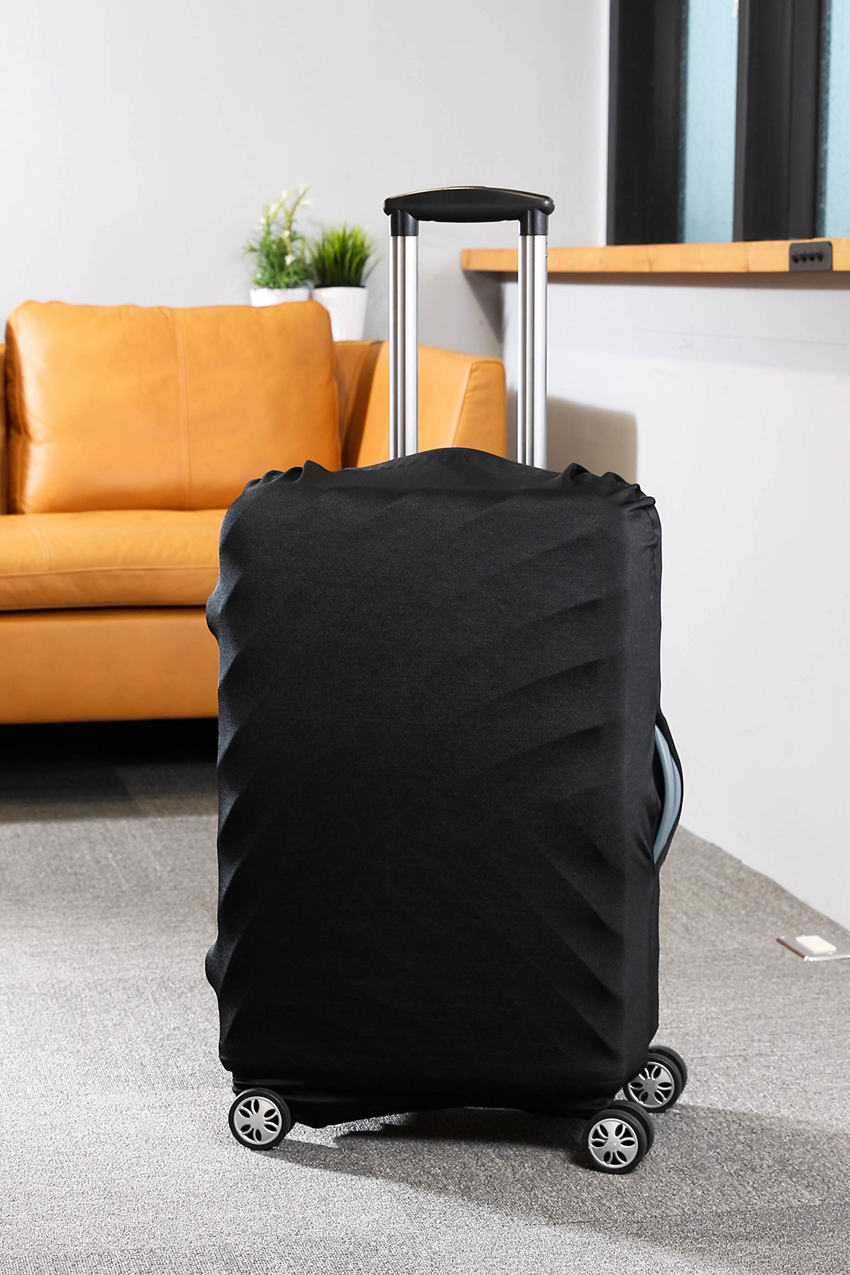 Travel Luggage Protective Cover - Stretchable Suitcase Protector Case, Black, 26 Inches by Juvale (Image #4)