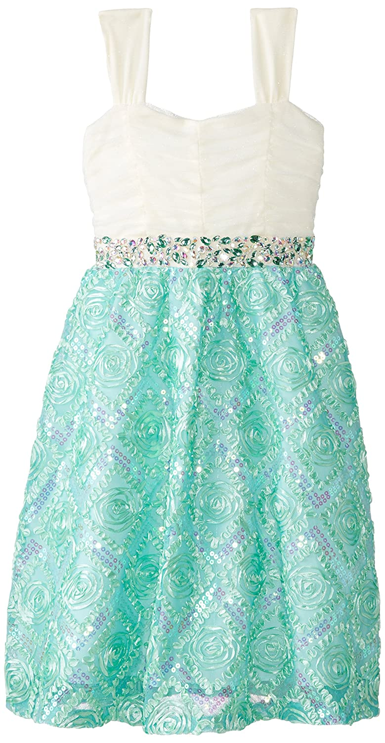 Amazon.com: Rare Editions Big Girls\' Mint and Ivory Party Dress ...