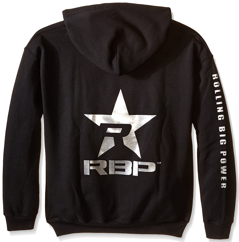 RBP Mens Hooded Sweatshirt with Silver Logo (Black, Medium)