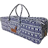 All-in-one Yoga Mat Bag with Pocket and Zipper - Patterned Canvas