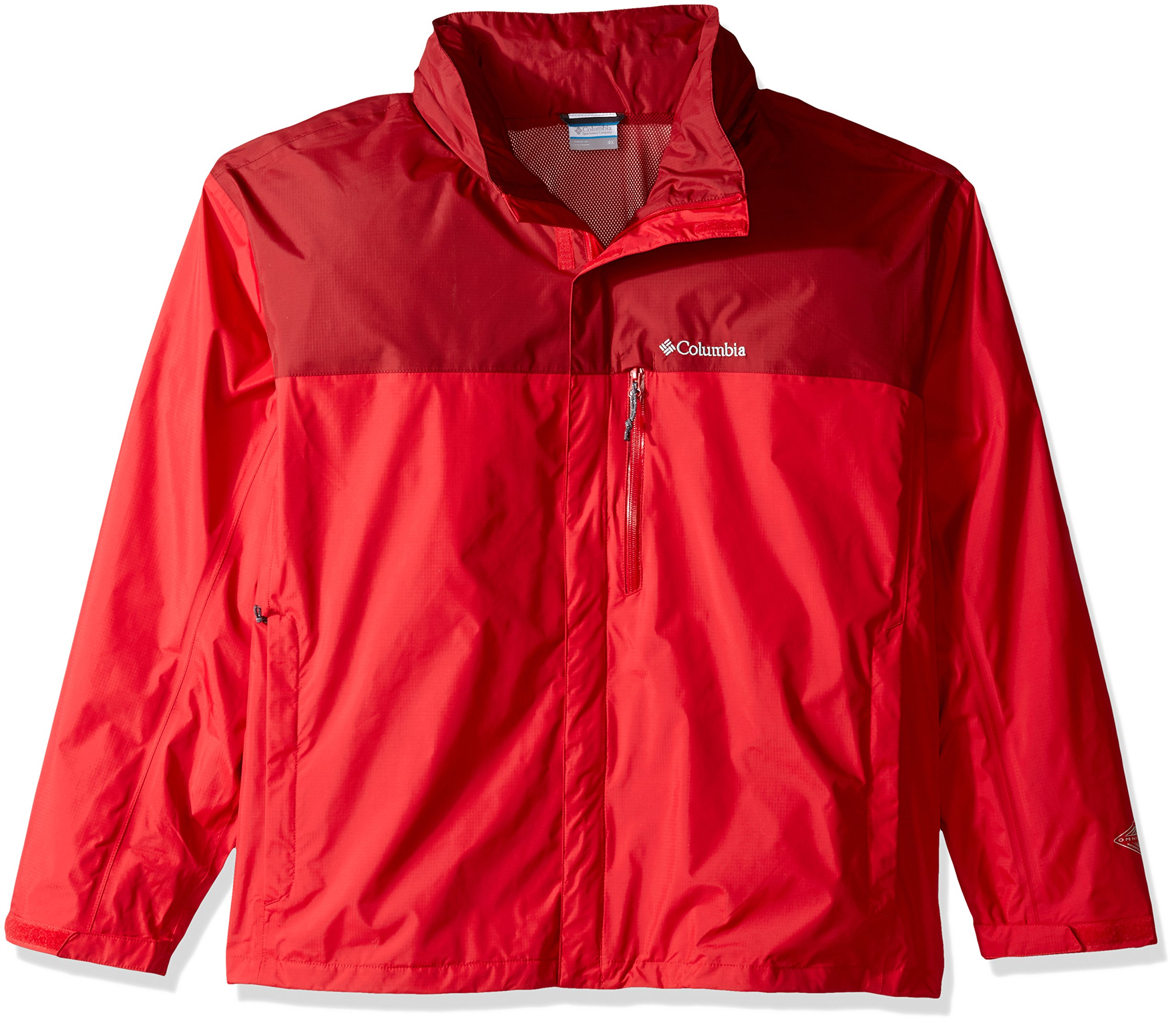 Columbia Men's Tall Pouration Jacket, 3X/Tall, Mountain Red/Red Element