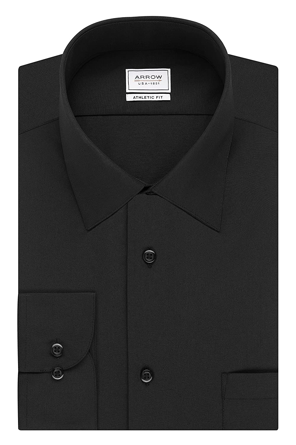 ef8f0890 Spread collar. Regular cuff. Pocket at chest. Athletic fit dress shirts  have fuller sleeves, a fuller chest, a contoured cut, and are slimmer at  the waist.
