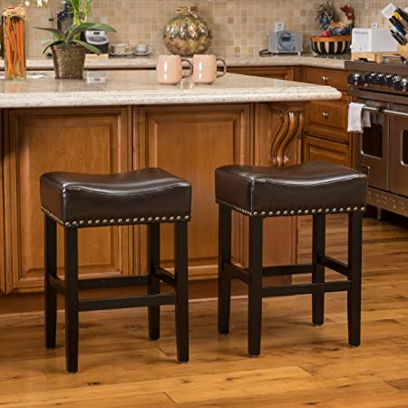 Christopher Knight Home 296230 Chantal Bonded Leather Studded Accent Bar stools Set of 2 Chocolate Brown ,