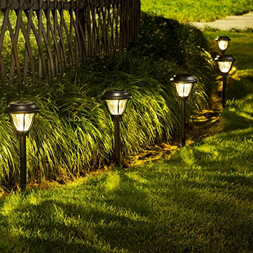 SOLPEX Solar Path Lights Outdoor, 6 Pack LED Solar Pathway Lights, Waterproof Solar Yard Lights for Yard, Patio, Landscape, Walkway Warm White