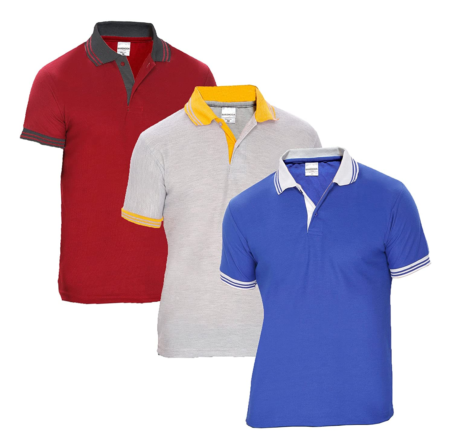 0fe9827f Baremoda Men's Polo T Shirt Blue Grey Maroon Combo Pack of 3: Amazon.in:  Clothing & Accessories