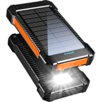 Solar Charger 2-Pack Portable Solar Power Bank 26800mAh Waterproof External Backup Battery Power Pack Charger with 2 USB…