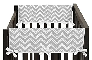 Side Rail Guards Teething Protector Baby Unisex Crib Cover Wrap for Chevron Gray and Turquoise Zig Zag Collection - Set of 2 Sweet Jojo Designs B015ZSDSTQ