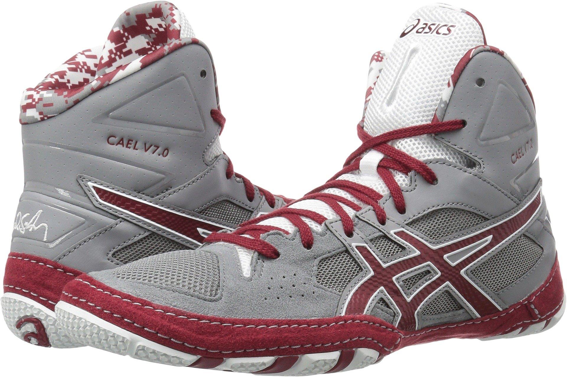 ASICS Men's Cael V7.0 Wrestling Shoe, Aluminum/Burgundy/White, 10 Medium US by ASICS