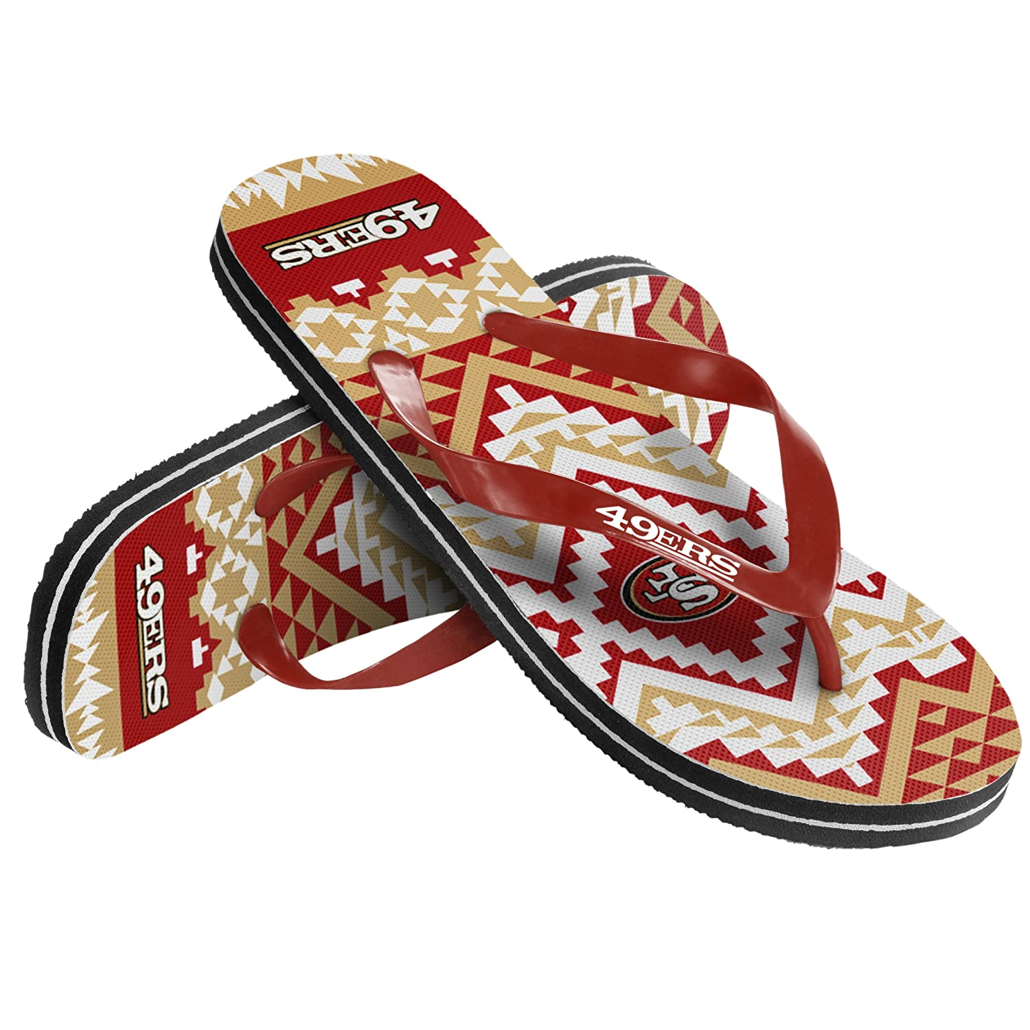 San Francisco 49ers Womens Aztec Flip Flop Small