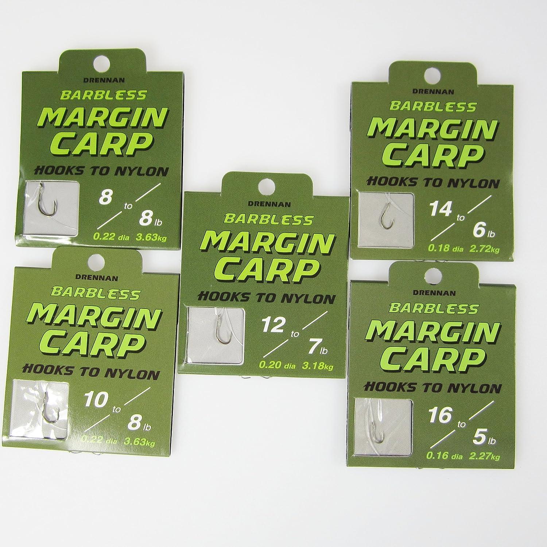 einzelne DRENNAN MARGIN CARP Angelhaken mit Widerhaken mit Nylonauswahl 24 3 Packungen mit 8 St/ück FTD - Erh/ältlich in den Gr/ö/ßen: 2,5 m; 3,0 m; 3,5 m; 4,2m; 4,9 m- mit 10 FTD Hair-Rigs