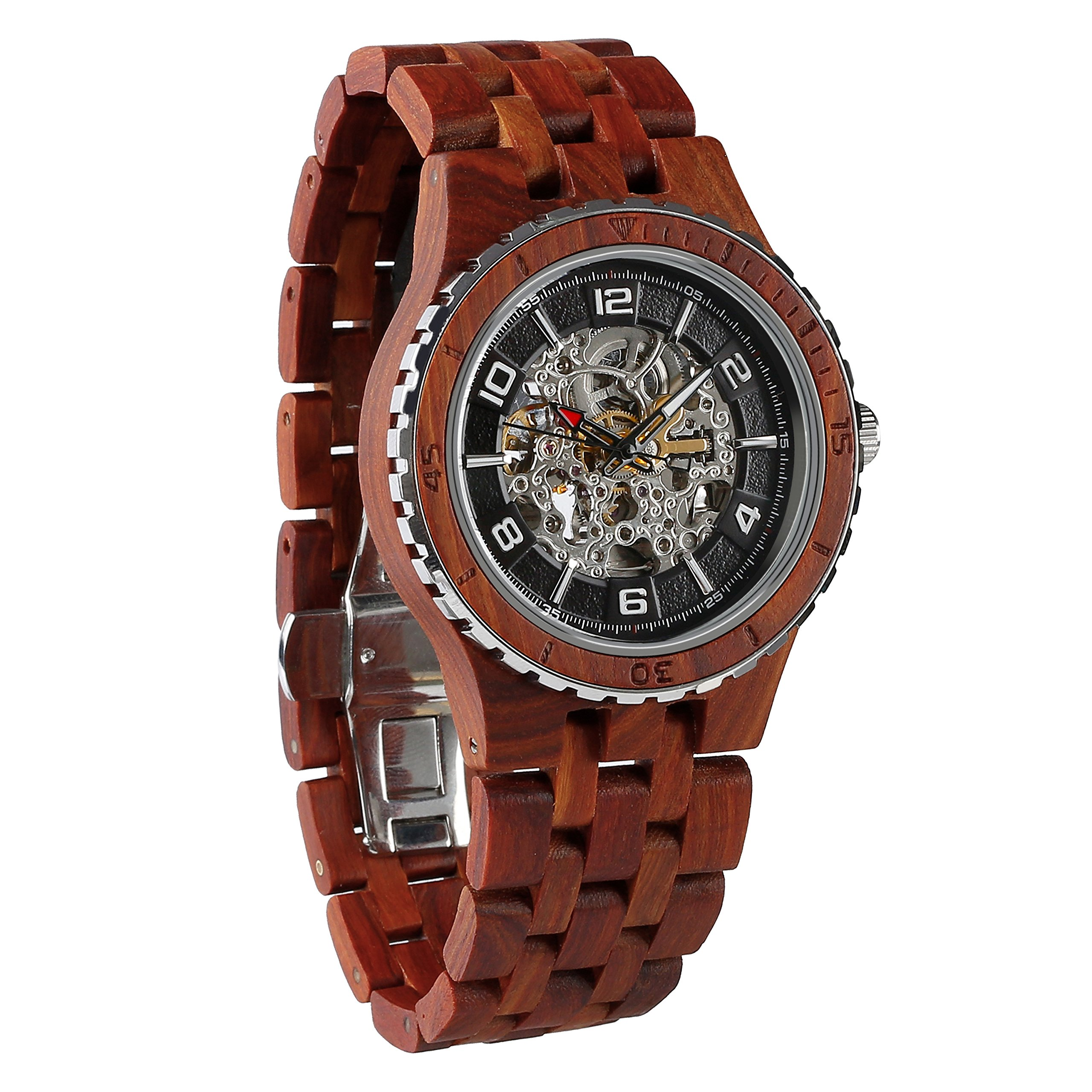Wilds Wood Watches Premium Eco Self-Winding Wooden Wrist Watch For Men, Natural Durable Handcrafted Gift Idea for Him (Rosewood) by Wilds (Image #1)