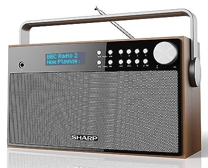 Sharp DR-P355 Radio despertador Digital Estéreo Dab/Dab+ y Fm con Rds, Alarma con Función despertador y Repetición, Carcasa de Madera