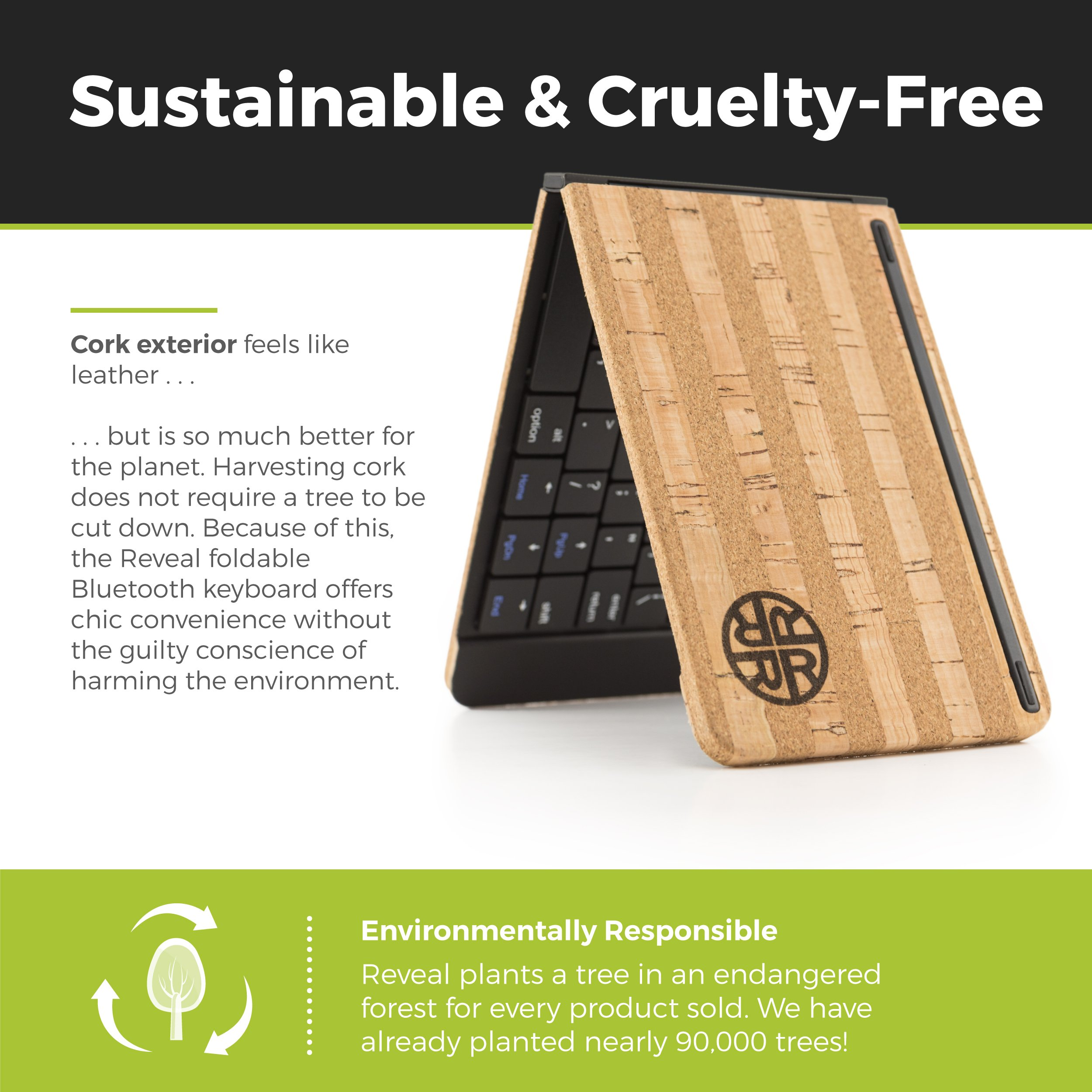 Foldable Bluetooth Keyboard by Reveal Shop - Natural Cork Leather Exterior - for iPhone, iPad, Android devices, Windows tablet, PC & MAC Computers - 30 hour battery life (Cork) by Reveal (Image #6)