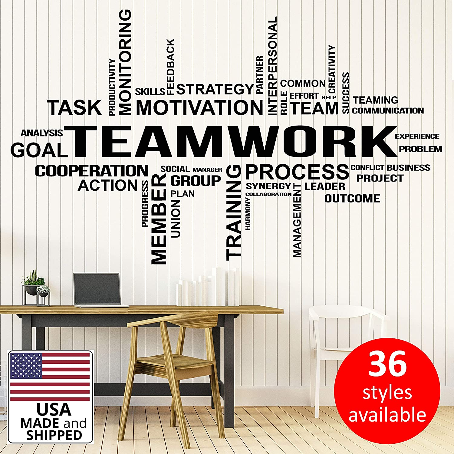 21 x 35 in Office Wall Vinyl Art Decor - Teamwork Decals Motivational Inspirational Quotes Sayings - Team Work Stickers Decoration Positive Words Letterings OF-005