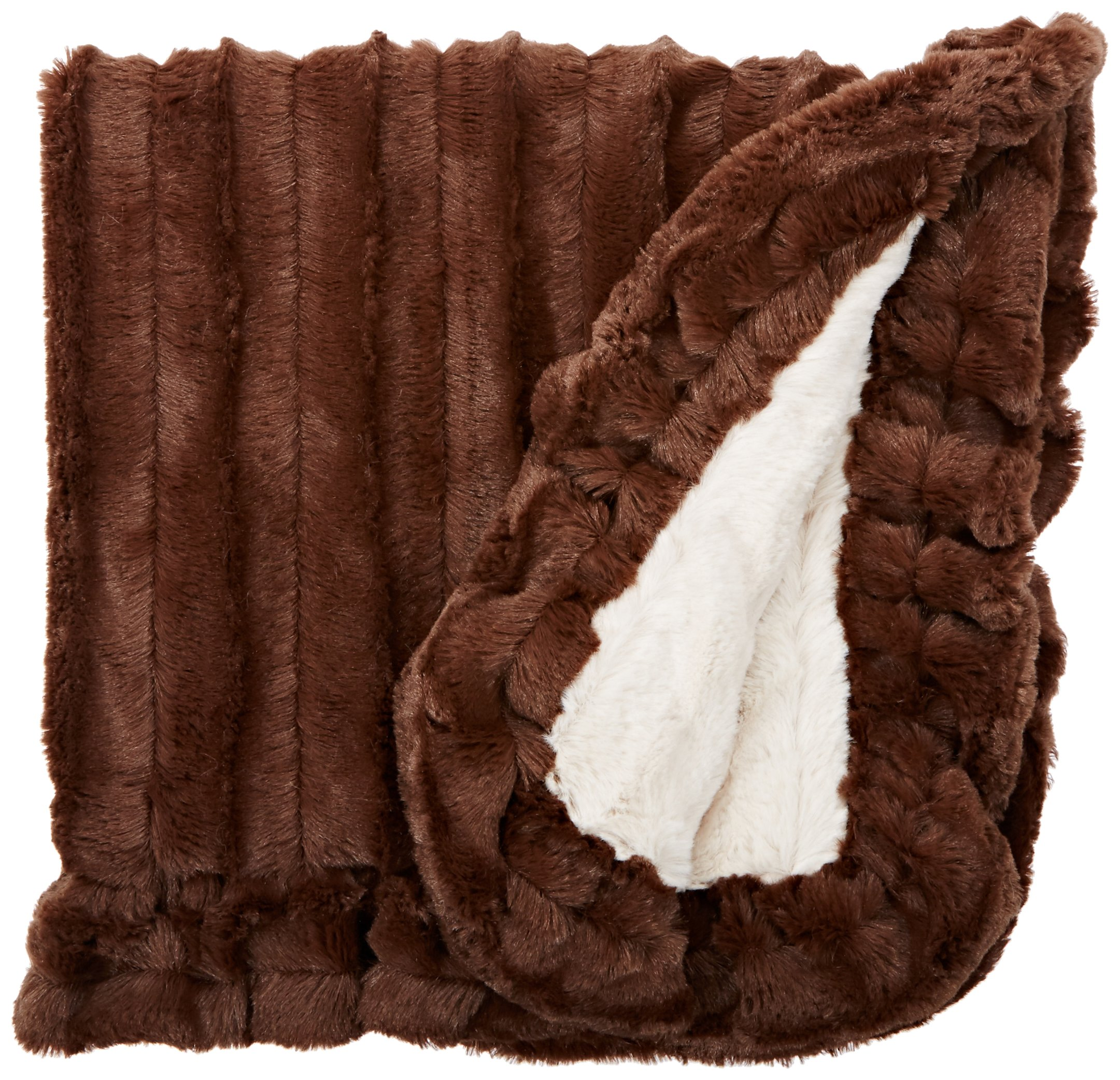 BESSIE AND BARNIE Natural Beauty/Godiva Brown Luxury Ultra Plush Faux Fur Pet, Dog, Cat, Puppy Super Soft Reversible Blanket (Multiple Sizes)